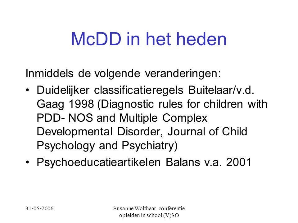 31-05-2006Susanne Wolthaar conferentie opleiden in school (V)SO McDD in het heden Inmiddels de volgende veranderingen: Duidelijker classificatieregels Buitelaar/v.d.