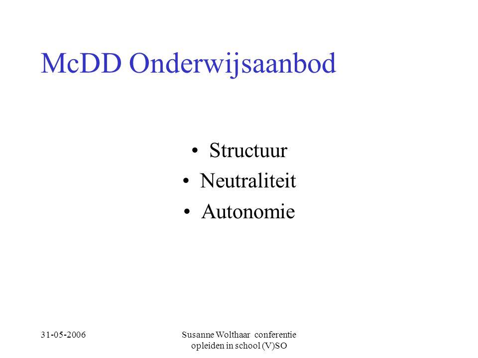 31-05-2006Susanne Wolthaar conferentie opleiden in school (V)SO McDD Onderwijsaanbod Structuur Neutraliteit Autonomie