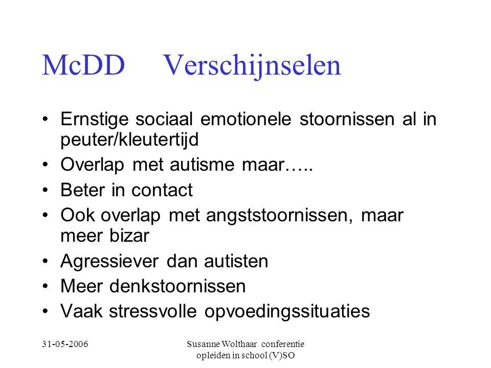 31-05-2006Susanne Wolthaar conferentie opleiden in school (V)SO McDD Verschijnselen Ernstige sociaal emotionele stoornissen al in peuter/kleutertijd Overlap met autisme maar…..