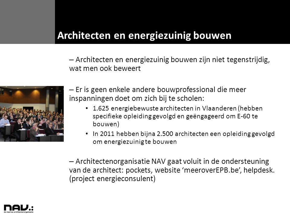 – Architecten en energiezuinig bouwen zijn niet tegenstrijdig, wat men ook beweert – Er is geen enkele andere bouwprofessional die meer inspanningen d
