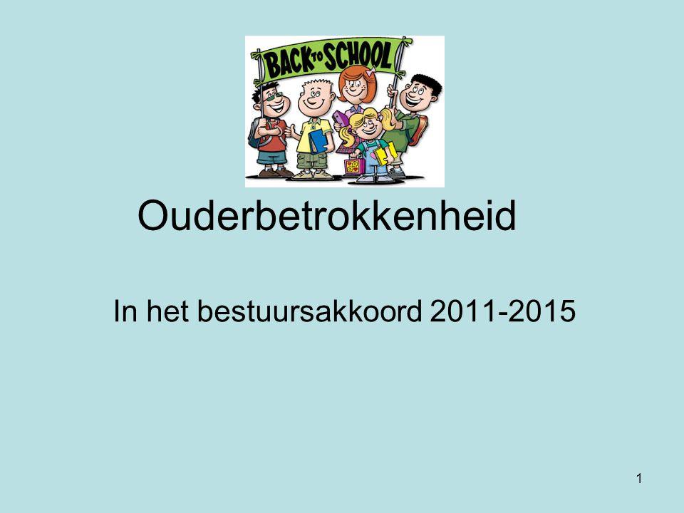 1 Ouderbetrokkenheid In het bestuursakkoord 2011-2015