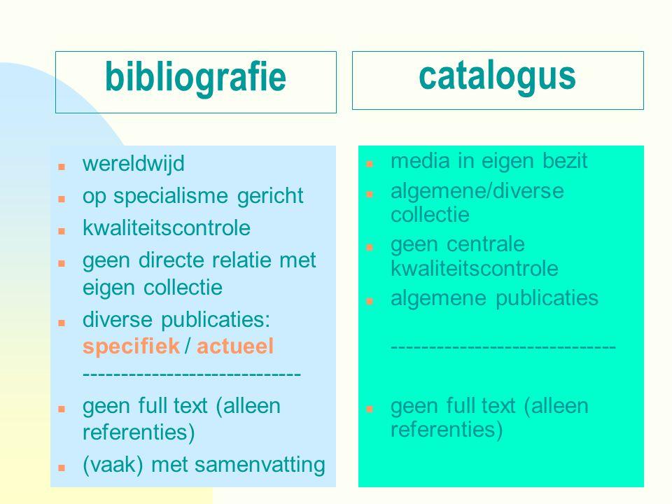 bibliografie n wereldwijd n op specialisme gericht n kwaliteitscontrole n geen directe relatie met eigen collectie n diverse publicaties: specifiek /