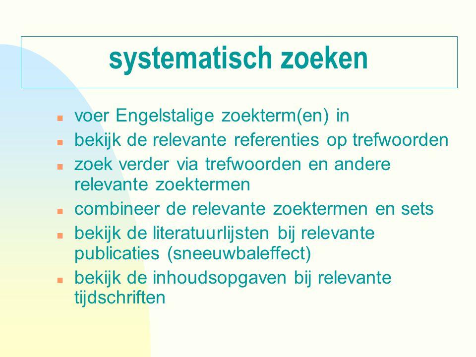 systematisch zoeken n voer Engelstalige zoekterm(en) in n bekijk de relevante referenties op trefwoorden n zoek verder via trefwoorden en andere relev