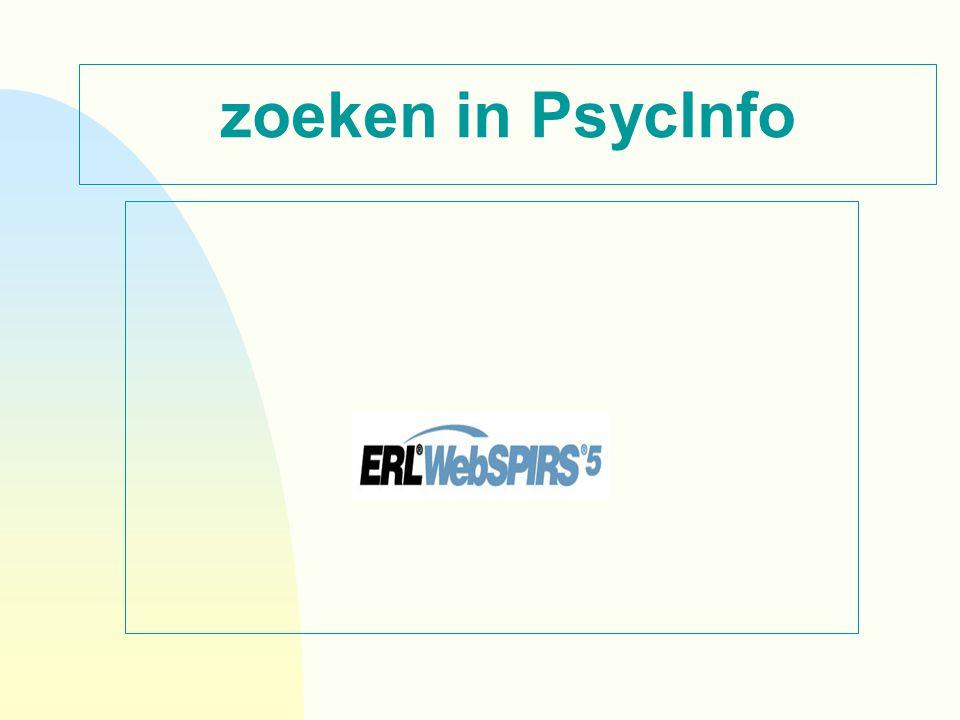 zoeken in PsycInfo