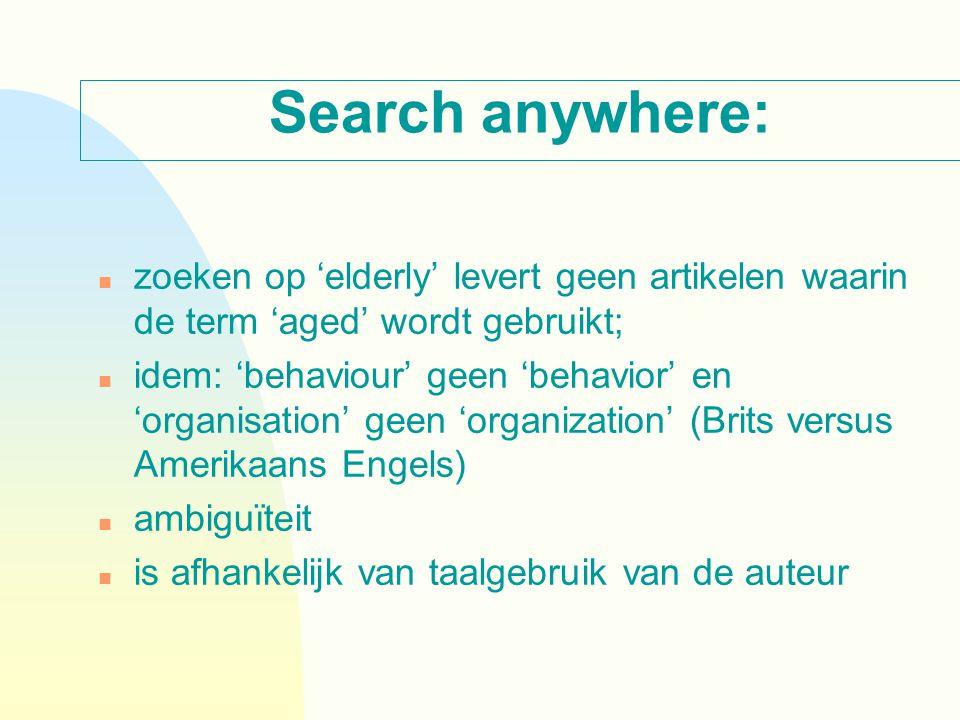Search anywhere: n zoeken op 'elderly' levert geen artikelen waarin de term 'aged' wordt gebruikt; n idem: 'behaviour' geen 'behavior' en 'organisatio