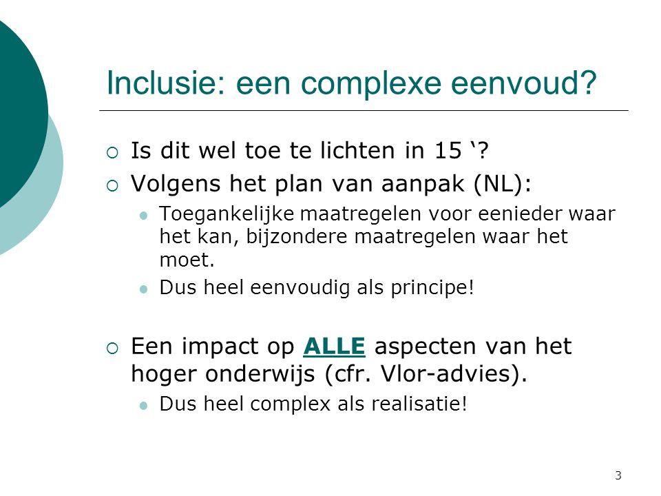 3 Inclusie: een complexe eenvoud?  Is dit wel toe te lichten in 15 '?  Volgens het plan van aanpak (NL): Toegankelijke maatregelen voor eenieder waa