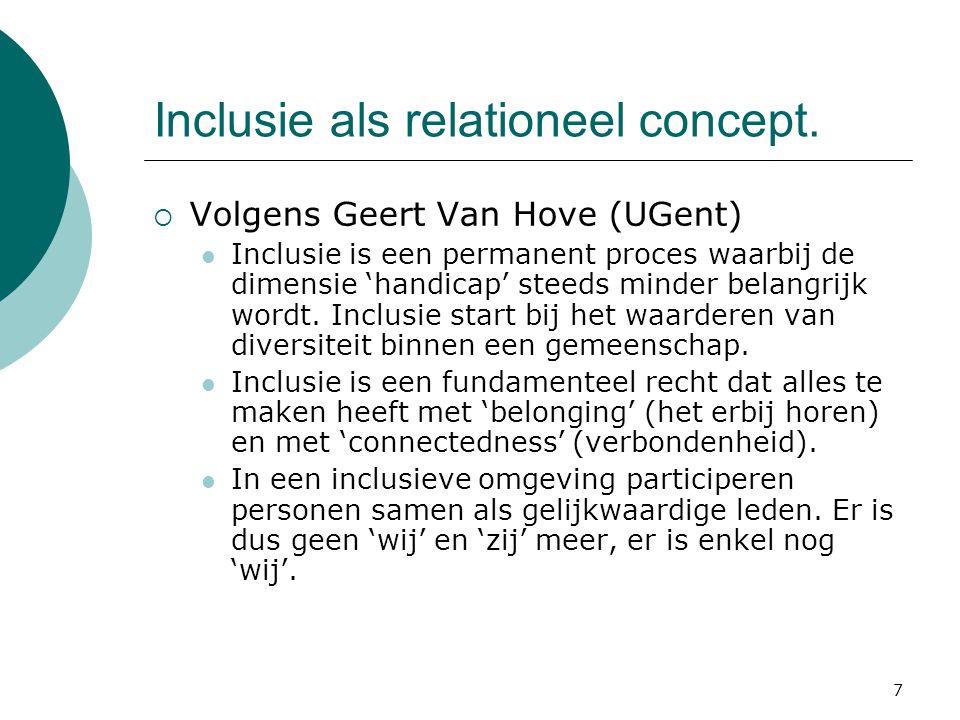 7 Inclusie als relationeel concept.  Volgens Geert Van Hove (UGent) Inclusie is een permanent proces waarbij de dimensie 'handicap' steeds minder bel