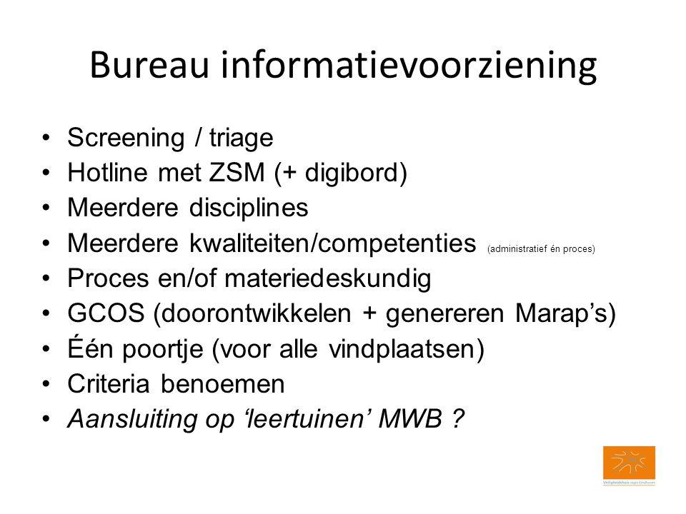 Bureau informatievoorziening Screening / triage Hotline met ZSM (+ digibord) Meerdere disciplines Meerdere kwaliteiten/competenties (administratief én