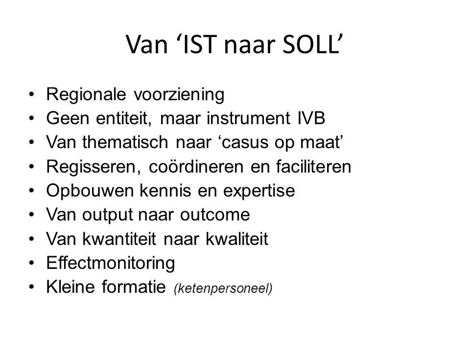 Van 'IST naar SOLL' Regionale voorziening Geen entiteit, maar instrument IVB Van thematisch naar 'casus op maat' Regisseren, coördineren en facilitere