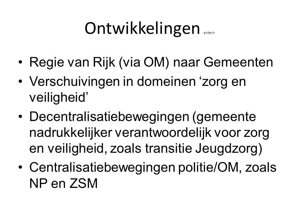 Ontwikkelingen extern Regie van Rijk (via OM) naar Gemeenten Verschuivingen in domeinen 'zorg en veiligheid' Decentralisatiebewegingen (gemeente nadru