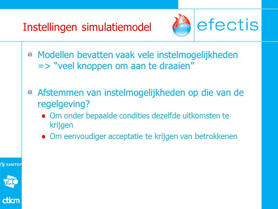 Instellingen simulatiemodel Modellen bevatten vaak vele instelmogelijkheden => veel knoppen om aan te draaien Afstemmen van instelmogelijkheden op die van de regelgeving.