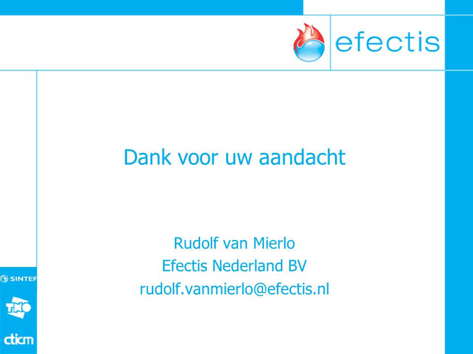 Dank voor uw aandacht Rudolf van Mierlo Efectis Nederland BV rudolf.vanmierlo@efectis.nl