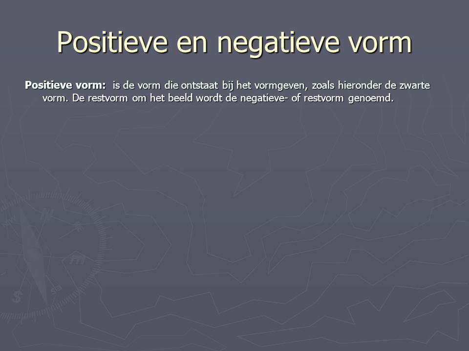 Positieve en negatieve vorm Positieve vorm: is de vorm die ontstaat bij het vormgeven, zoals hieronder de zwarte vorm. De restvorm om het beeld wordt