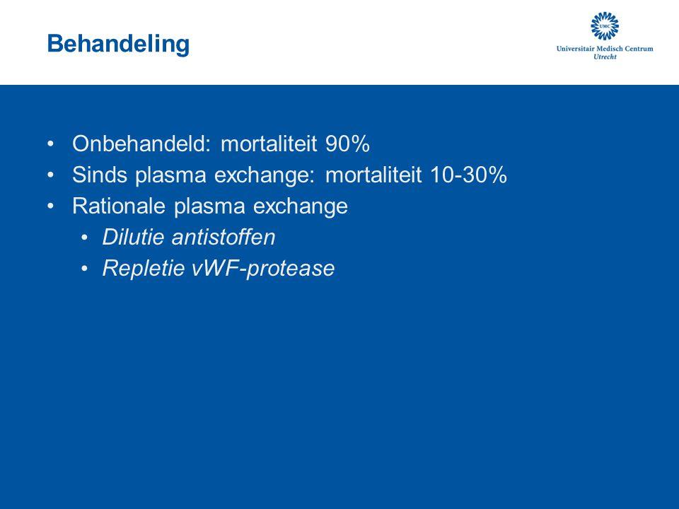 Behandeling Onbehandeld: mortaliteit 90% Sinds plasma exchange: mortaliteit 10-30% Rationale plasma exchange Dilutie antistoffen Repletie vWF-protease