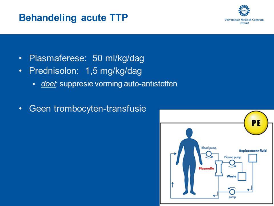 Behandeling acute TTP Plasmaferese: 50 ml/kg/dag Prednisolon: 1,5 mg/kg/dag doel: suppresie vorming auto-antistoffen Geen trombocyten-transfusie