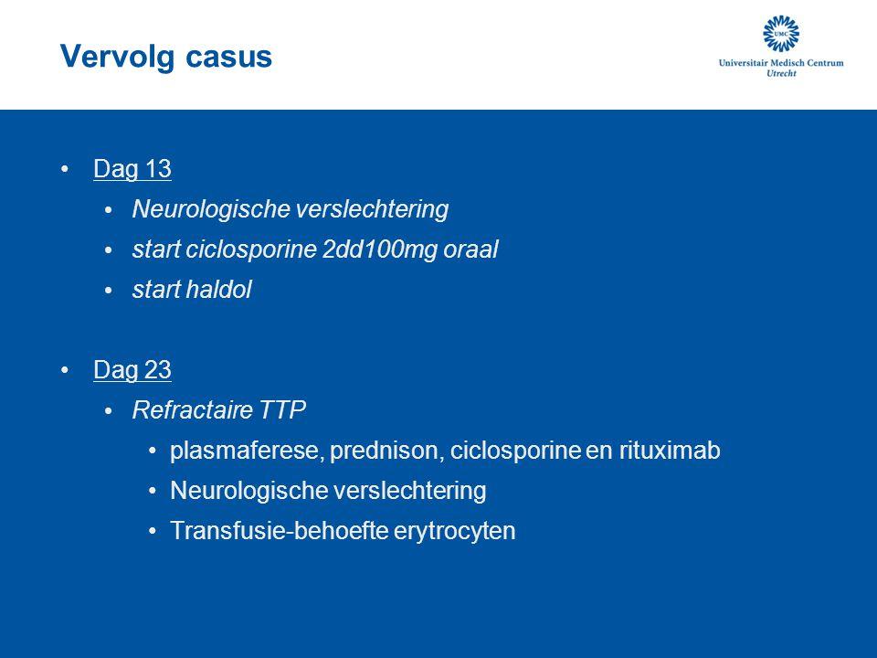 Vervolg casus Dag 13 Neurologische verslechtering start ciclosporine 2dd100mg oraal start haldol Dag 23 Refractaire TTP plasmaferese, prednison, ciclo