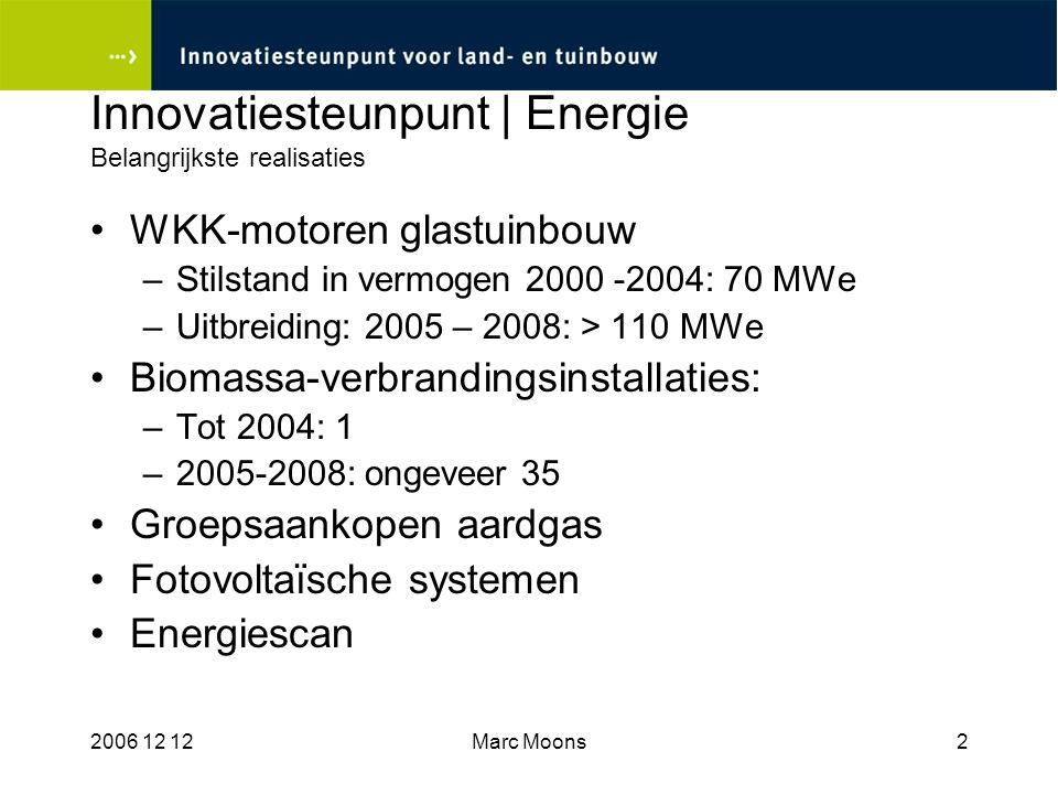 2006 12 12Marc Moons13 Case Plassendale Rendabiliteit Energie en CO2: –Warmtevraag en aanbod in optimale verhouding –Korte leidingafstand –Investering verantwoord door WKK-steun –Warmteprijs concurrentieel voor tuinbouw –Mogelijkheid voor CO2- uitwisseling