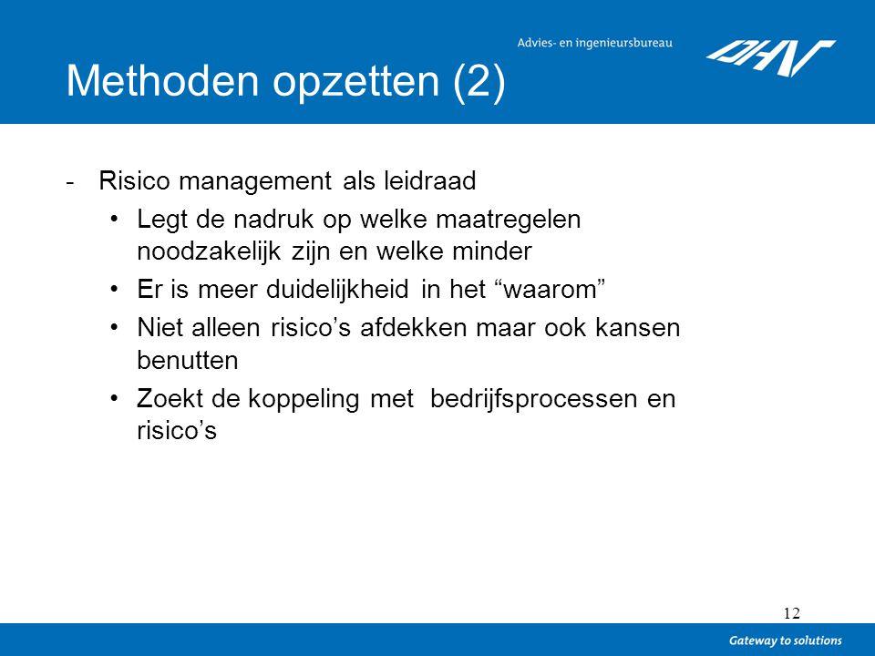 12 Methoden opzetten (2) -Risico management als leidraad Legt de nadruk op welke maatregelen noodzakelijk zijn en welke minder Er is meer duidelijkhei