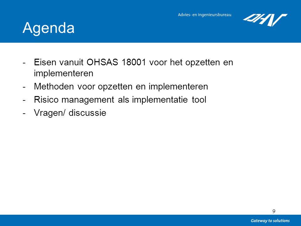 9 Agenda -Eisen vanuit OHSAS 18001 voor het opzetten en implementeren -Methoden voor opzetten en implementeren -Risico management als implementatie to