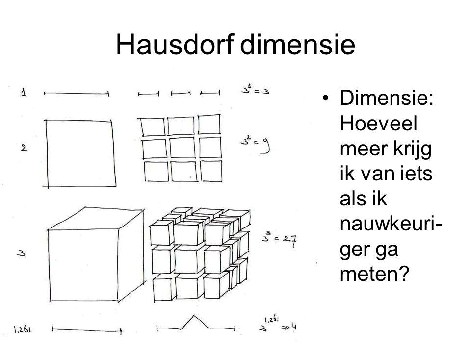 Hausdorf dimensie Dimensie: Hoeveel meer krijg ik van iets als ik nauwkeuri- ger ga meten?