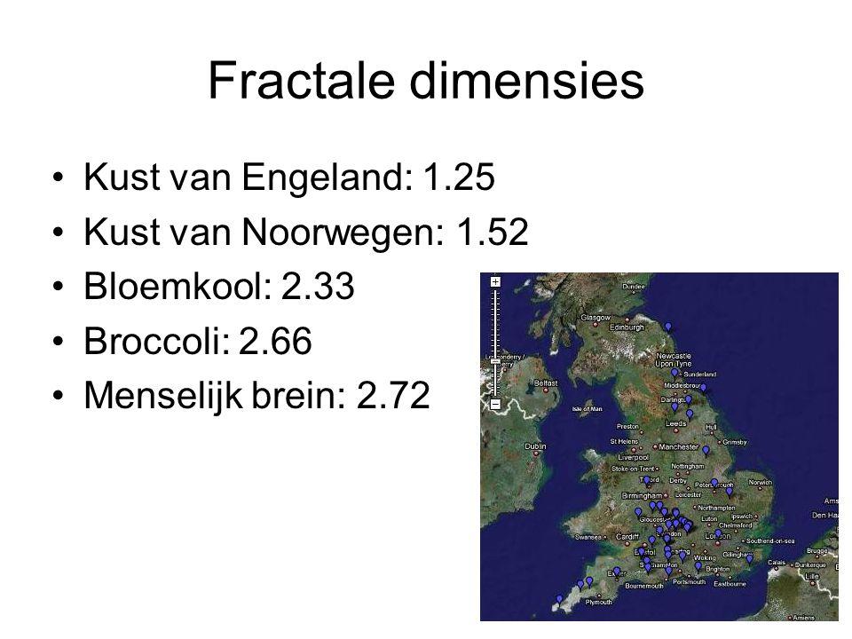 Fractale dimensies Kust van Engeland: 1.25 Kust van Noorwegen: 1.52 Bloemkool: 2.33 Broccoli: 2.66 Menselijk brein: 2.72