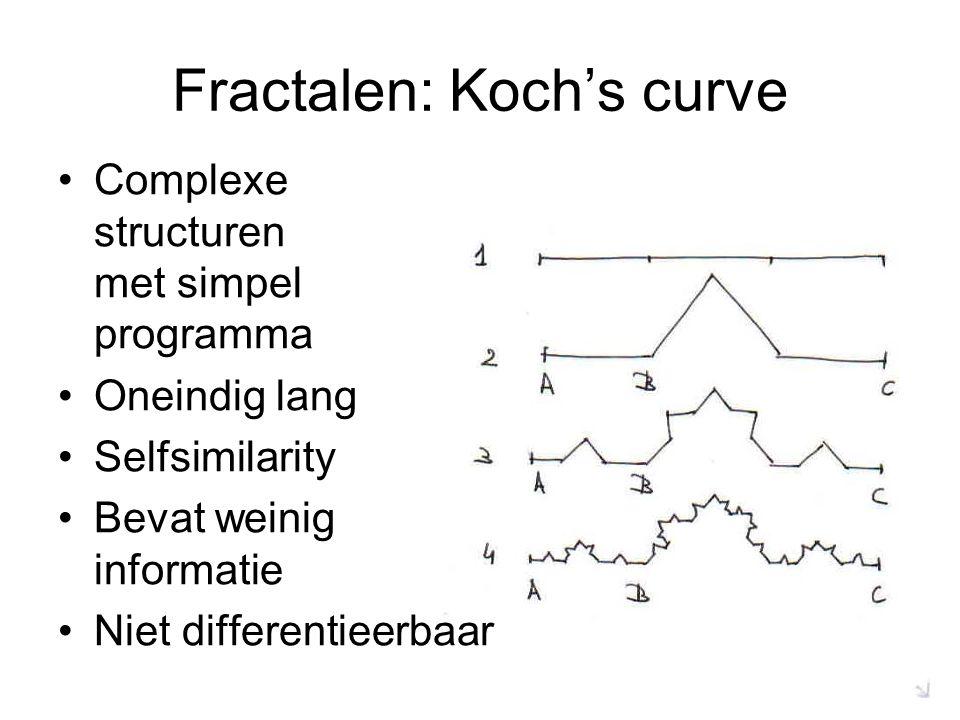 Fractalen: Koch's curve Complexe structuren met simpel programma Oneindig lang Selfsimilarity Bevat weinig informatie Niet differentieerbaar