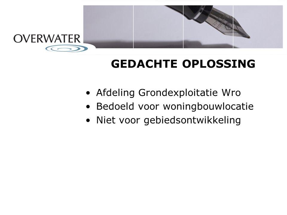 GEDACHTE OPLOSSING Afdeling Grondexploitatie Wro Bedoeld voor woningbouwlocatie Niet voor gebiedsontwikkeling