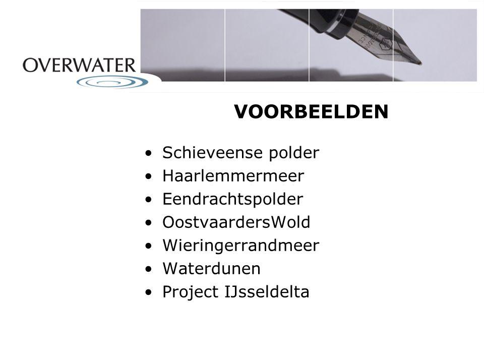 VOORBEELDEN Schieveense polder Haarlemmermeer Eendrachtspolder OostvaardersWold Wieringerrandmeer Waterdunen Project IJsseldelta