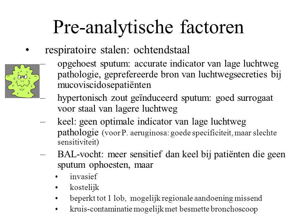 Pre-analytische factoren respiratoire stalen: ochtendstaal –opgehoest sputum: accurate indicator van lage luchtweg pathologie, geprefereerde bron van
