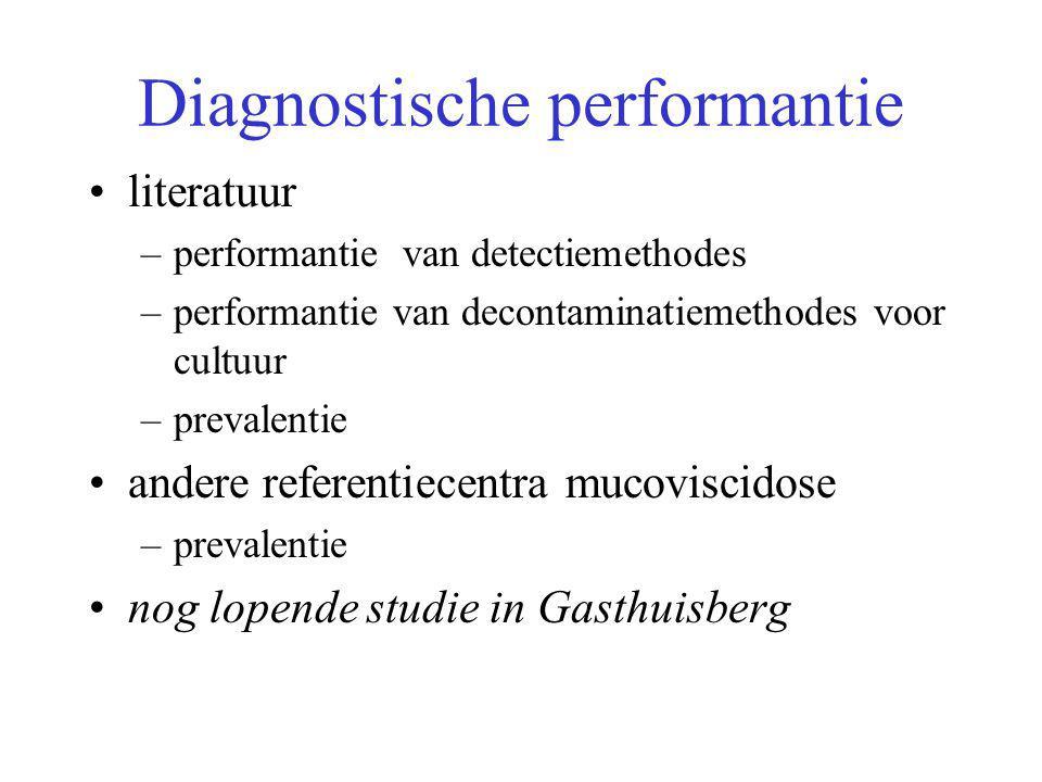 Diagnostische performantie literatuur –performantie van detectiemethodes –performantie van decontaminatiemethodes voor cultuur –prevalentie andere ref