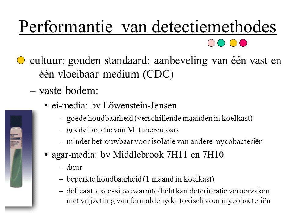 Performantie van detectiemethodes cultuur: gouden standaard: aanbeveling van één vast en één vloeibaar medium (CDC) –vaste bodem: ei-media: bv Löwenst