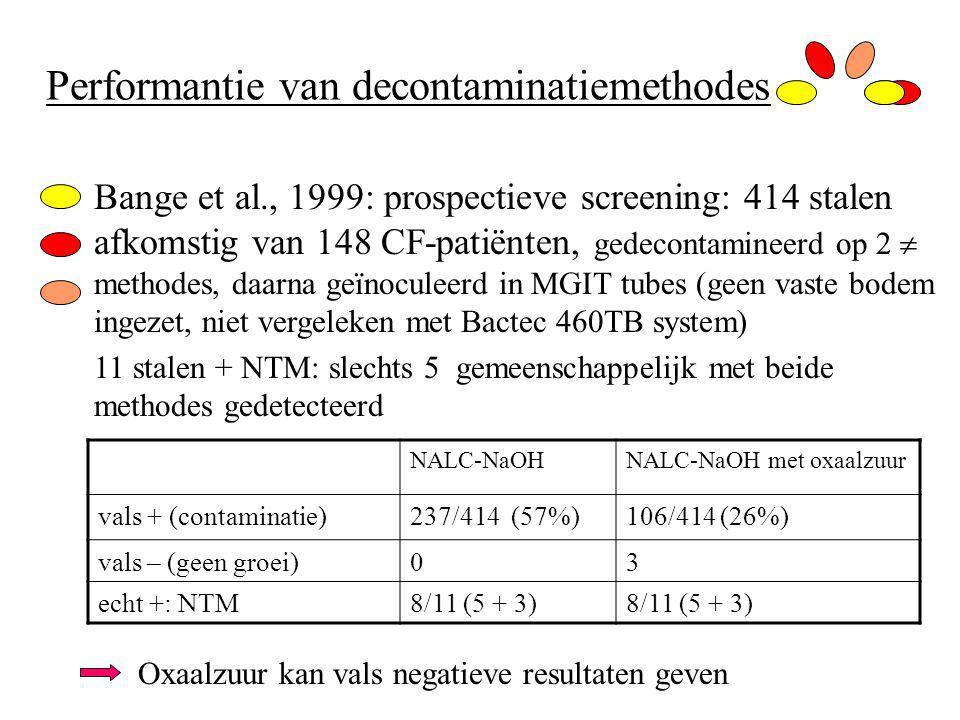 Performantie van decontaminatiemethodes Bange et al., 1999: prospectieve screening: 414 stalen afkomstig van 148 CF-patiënten, gedecontamineerd op 2  methodes, daarna geïnoculeerd in MGIT tubes (geen vaste bodem ingezet, niet vergeleken met Bactec 460TB system) 11 stalen + NTM: slechts 5 gemeenschappelijk met beide methodes gedetecteerd Oxaalzuur kan vals negatieve resultaten geven NALC-NaOHNALC-NaOH met oxaalzuur vals + (contaminatie)237/414 (57%)106/414 (26%) vals – (geen groei)03 echt +: NTM8/11 (5 + 3)