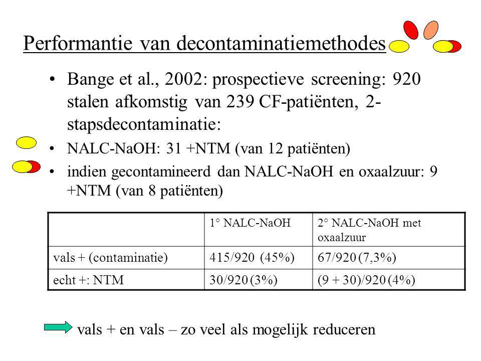 Performantie van decontaminatiemethodes Bange et al., 2002: prospectieve screening: 920 stalen afkomstig van 239 CF-patiënten, 2- stapsdecontaminatie: NALC-NaOH: 31 +NTM (van 12 patiënten) indien gecontamineerd dan NALC-NaOH en oxaalzuur: 9 +NTM (van 8 patiënten) vals + en vals – zo veel als mogelijk reduceren 1° NALC-NaOH2° NALC-NaOH met oxaalzuur vals + (contaminatie)415/920 (45%)67/920 (7,3%) echt +: NTM30/920 (3%)(9 + 30)/920 (4%)