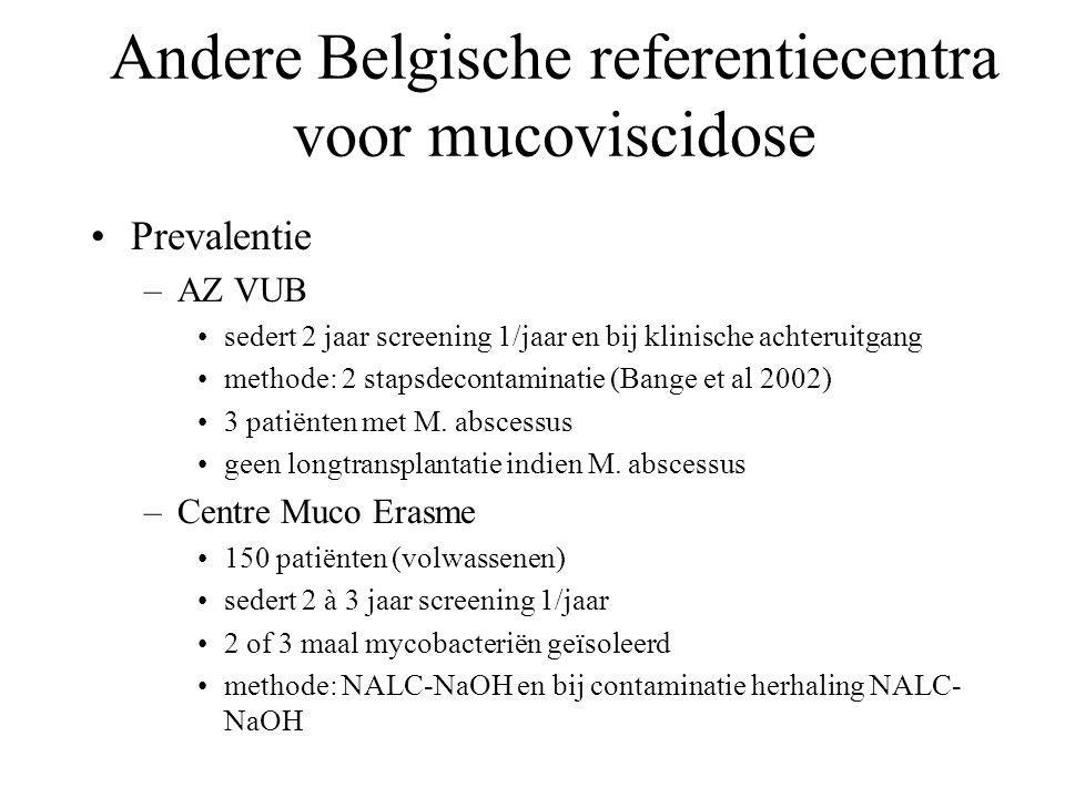 Andere Belgische referentiecentra voor mucoviscidose Prevalentie –AZ VUB sedert 2 jaar screening 1/jaar en bij klinische achteruitgang methode: 2 stapsdecontaminatie (Bange et al 2002) 3 patiënten met M.