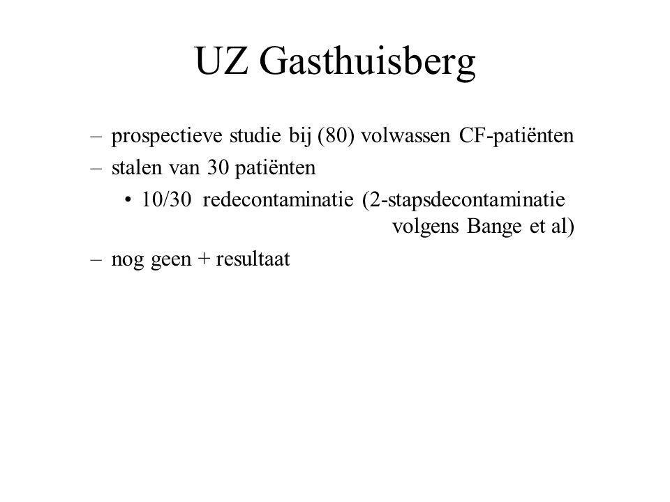 UZ Gasthuisberg –prospectieve studie bij (80) volwassen CF-patiënten –stalen van 30 patiënten 10/30 redecontaminatie (2-stapsdecontaminatie volgens Bange et al) –nog geen + resultaat