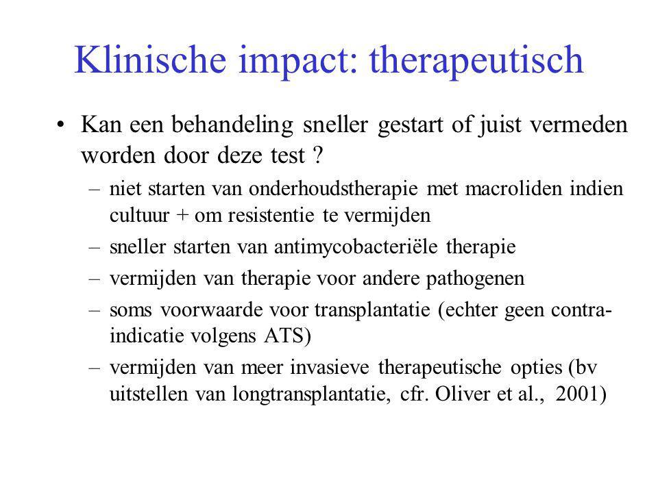 Klinische impact: therapeutisch Kan een behandeling sneller gestart of juist vermeden worden door deze test .