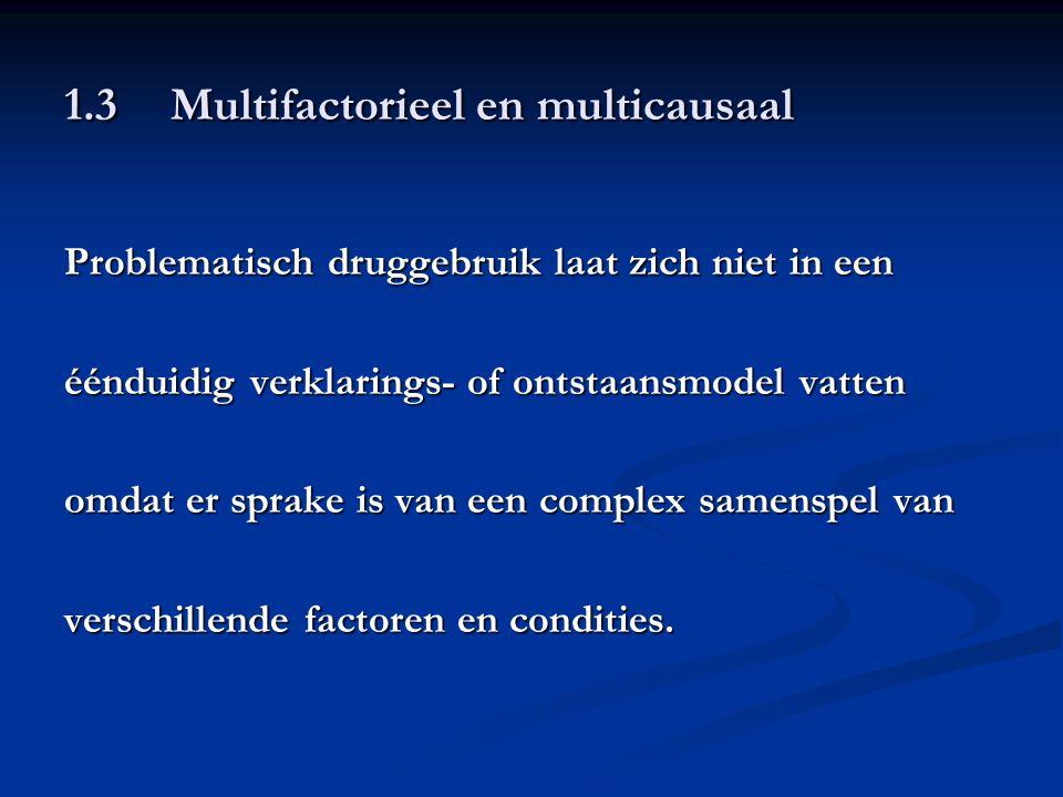 1.3Multifactorieel en multicausaal Problematisch druggebruik laat zich niet in een éénduidig verklarings- of ontstaansmodel vatten omdat er sprake is