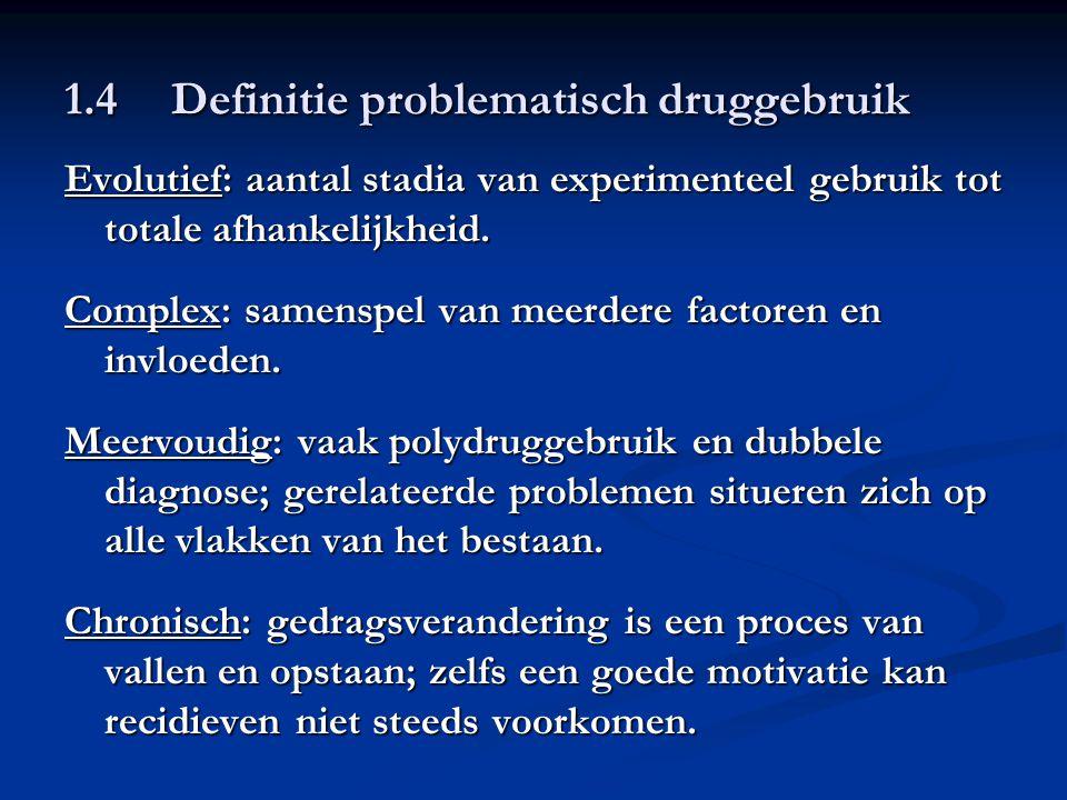 1.4Definitie problematisch druggebruik Evolutief: aantal stadia van experimenteel gebruik tot totale afhankelijkheid. Complex: samenspel van meerdere