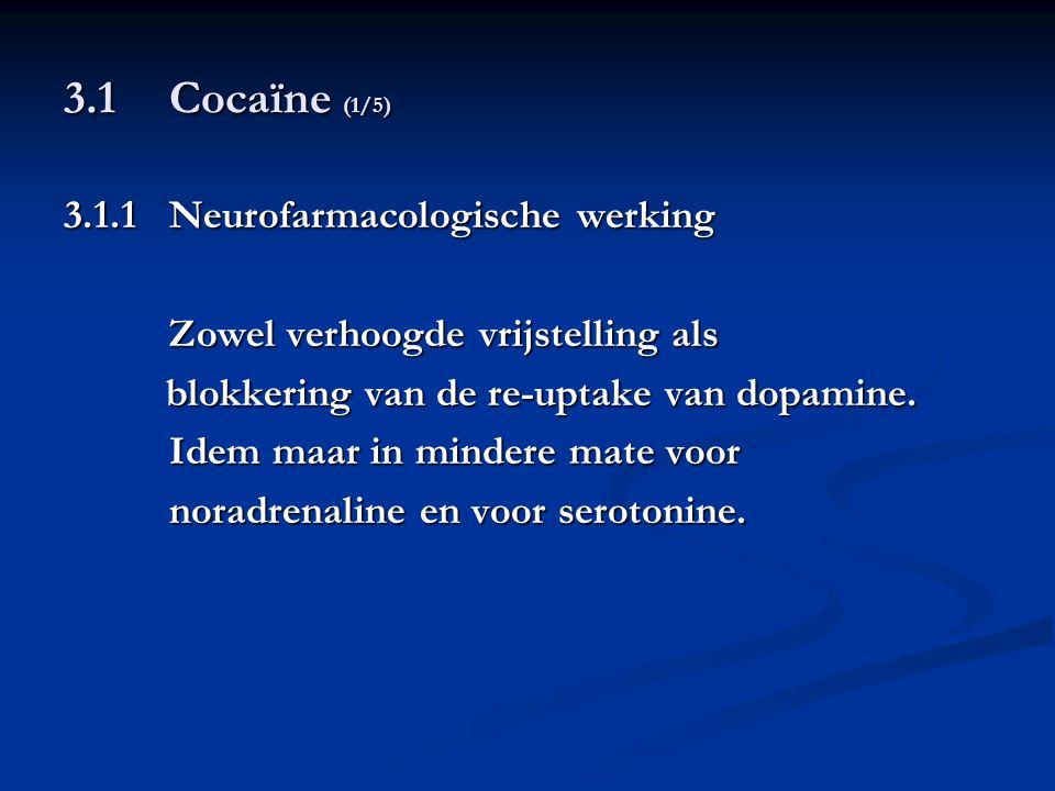 3.1Cocaïne (1/5) 3.1.1Neurofarmacologische werking Zowel verhoogde vrijstelling als blokkering van de re-uptake van dopamine. blokkering van de re-upt