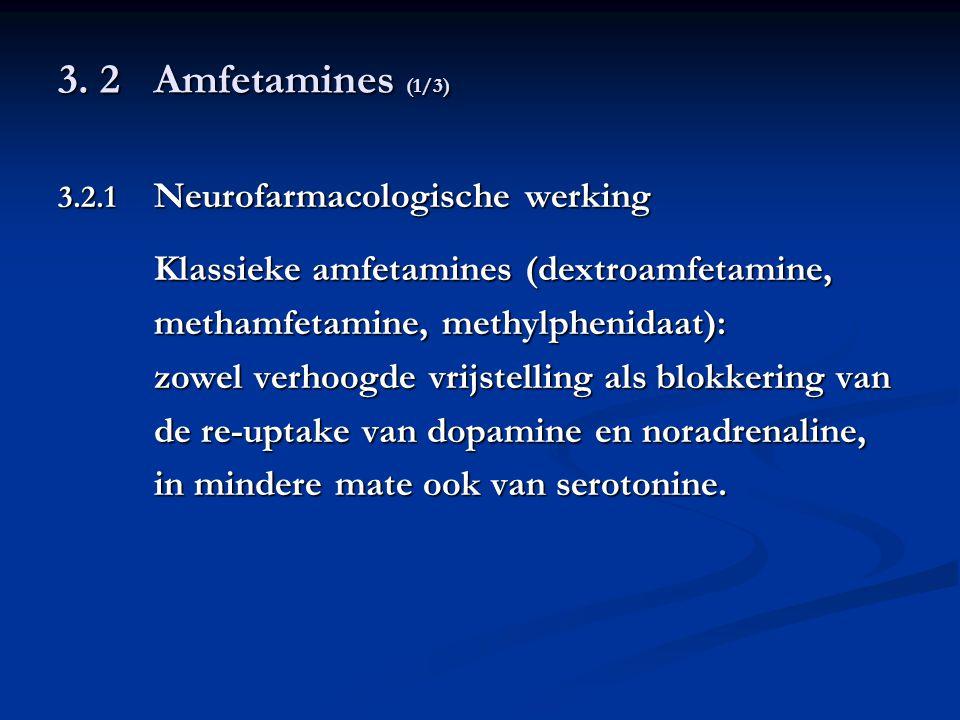 3. 2Amfetamines (1/3) 3.2.1 Neurofarmacologische werking Klassieke amfetamines (dextroamfetamine, methamfetamine, methylphenidaat): zowel verhoogde vr