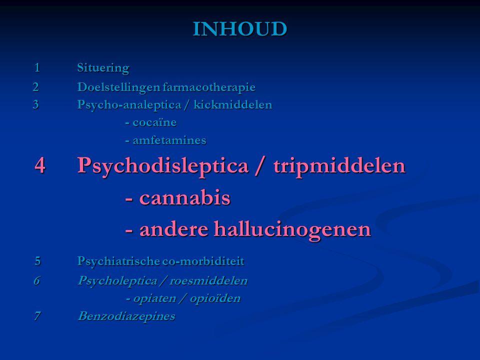 INHOUD 1Situering 1Situering 2Doelstellingen farmacotherapie 2Doelstellingen farmacotherapie 3Psycho-analeptica / kickmiddelen 3Psycho-analeptica / ki