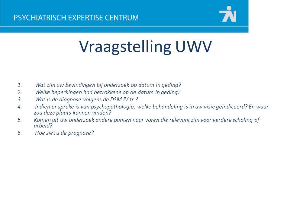Vraagstelling UWV 1. Wat zijn uw bevindingen bij onderzoek op datum in geding? 2. Welke beperkingen had betrokkene op de datum in geding? 3. Wat is de