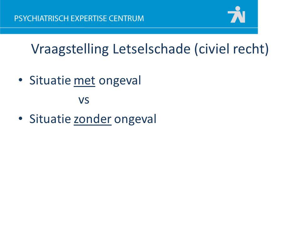 Situatie met ongeval vs Situatie zonder ongeval Vraagstelling Letselschade (civiel recht)
