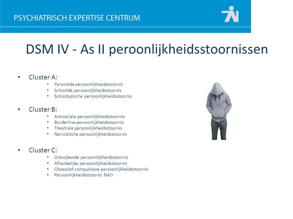 DSM IV - As II peroonlijkheidsstoornissen Cluster A: Paranoïde persoonlijkheidsstoornis Schizoïde persoonlijkheidsstoornis Schizotypische persoonlijkh