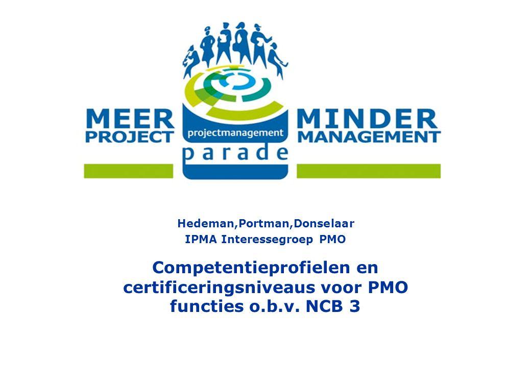 Hedeman,Portman,Donselaar IPMA Interessegroep PMO Competentieprofielen en certificeringsniveaus voor PMO functies o.b.v.