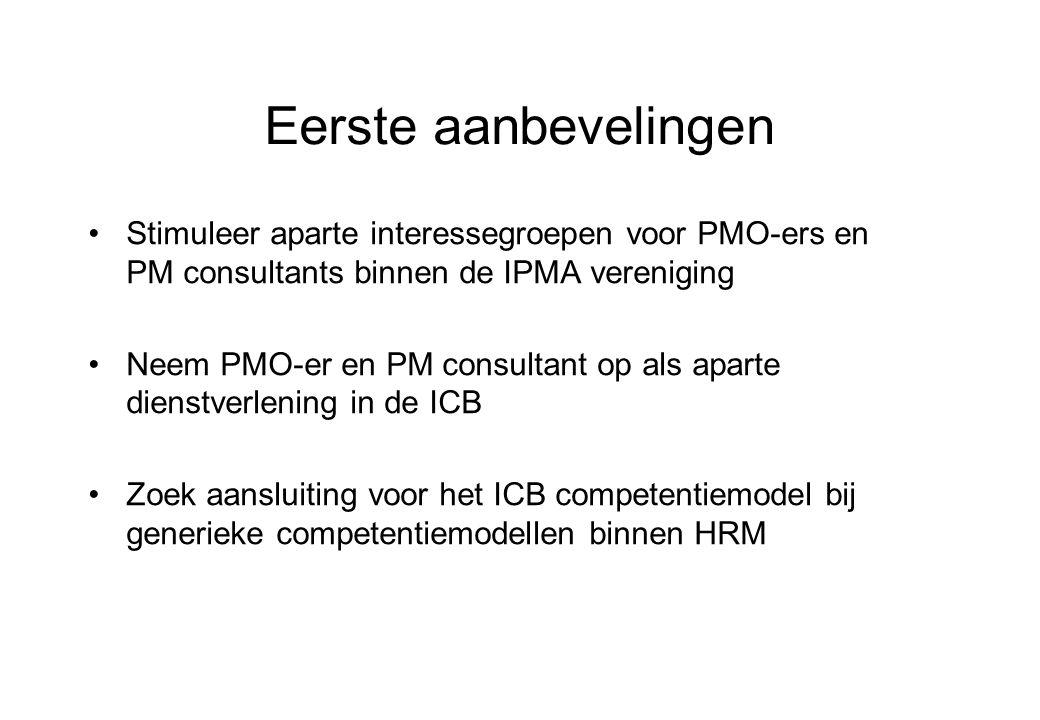 Eerste aanbevelingen Stimuleer aparte interessegroepen voor PMO-ers en PM consultants binnen de IPMA vereniging Neem PMO-er en PM consultant op als aparte dienstverlening in de ICB Zoek aansluiting voor het ICB competentiemodel bij generieke competentiemodellen binnen HRM