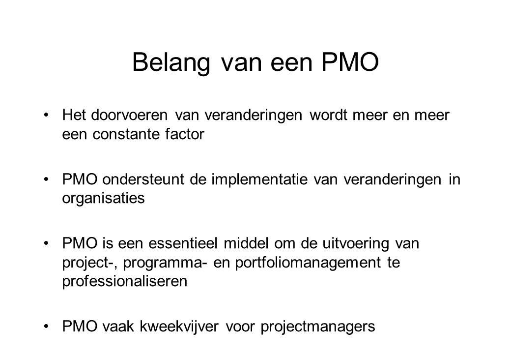 Belang van een PMO Het doorvoeren van veranderingen wordt meer en meer een constante factor PMO ondersteunt de implementatie van veranderingen in organisaties PMO is een essentieel middel om de uitvoering van project-, programma- en portfoliomanagement te professionaliseren PMO vaak kweekvijver voor projectmanagers