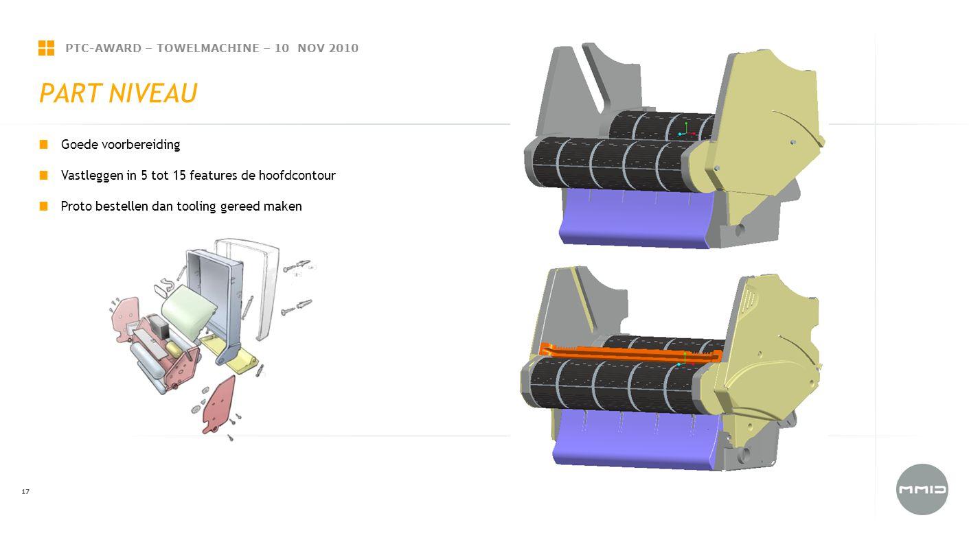 PTC-AWARD – TOWELMACHINE – 10 NOV 2010 17 PART NIVEAU Goede voorbereiding Vastleggen in 5 tot 15 features de hoofdcontour Proto bestellen dan tooling gereed maken