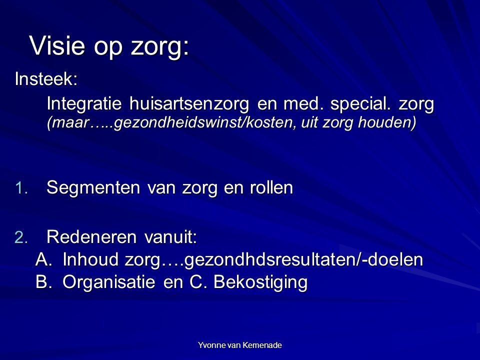 Yvonne van Kemenade Visie op zorg: Insteek: Integratie huisartsenzorg en med. special. zorg (maar…..gezondheidswinst/kosten, uit zorg houden) 1. Segme