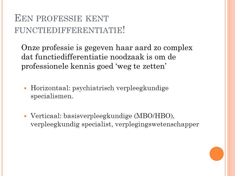 E EN PROFESSIE HEEFT HAAR EIGEN KENNISDOMEIN De psychiatrisch verpleegkundige richt zich op de gevolgen van (psychiatrische) ziekte voor de gezondheid, het welzijn en het bestaan van de patiënt.